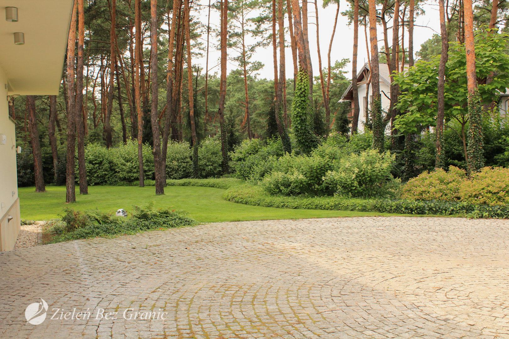 Ogród w stylu leśnym.