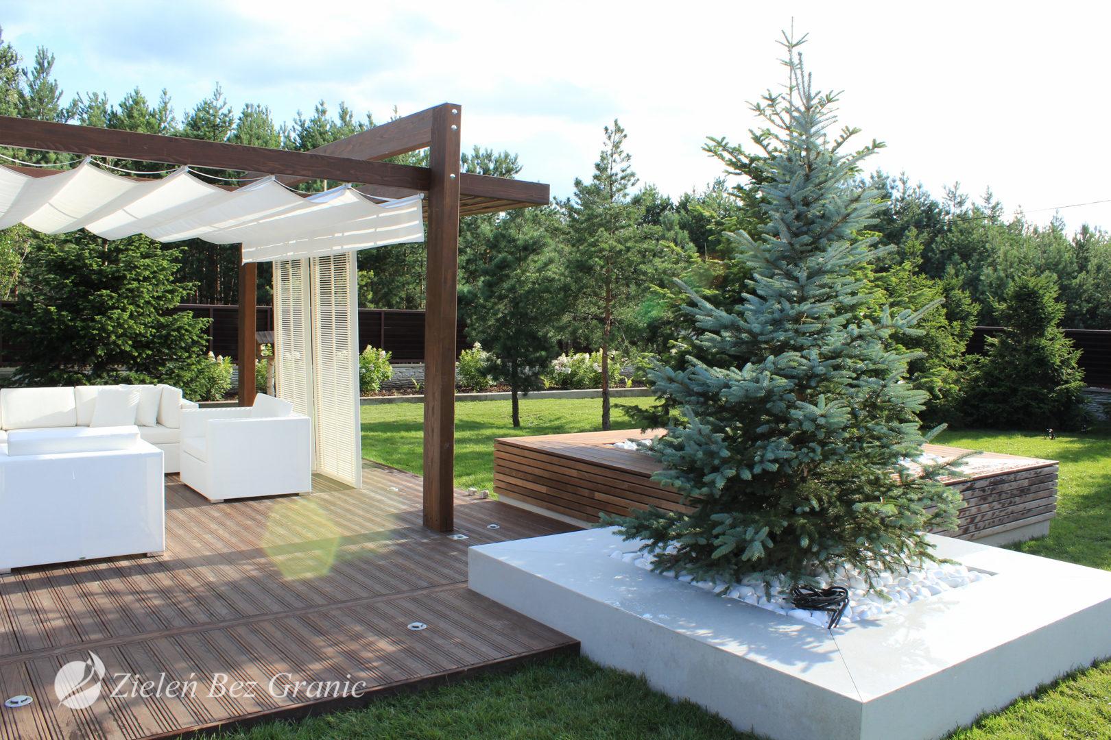 Aranżacja mimalistycznego ogrodu przydomowego.